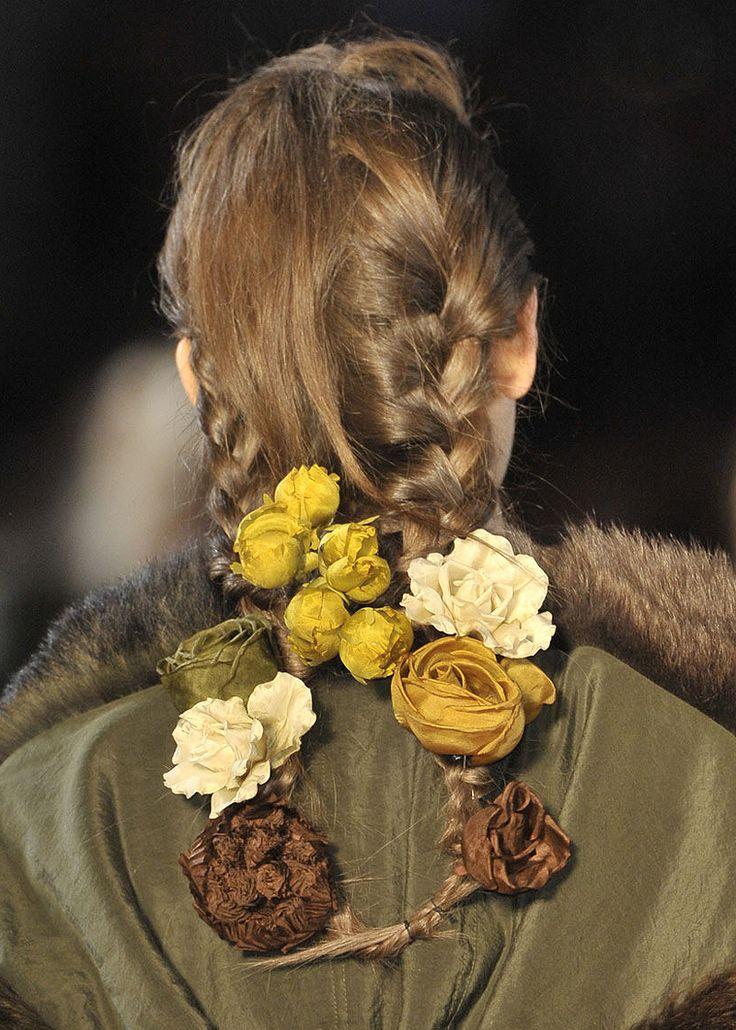 FashionRefashion - details of Kenzo F/W 2011, braided hair adorned...