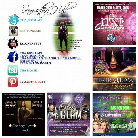 """IF YOU WOULD LIKE TO BOOK SAMANTHA """" THA BOSSLADI"""" FOR:  *EDUCATIONAL CLASSES ( PRODUCTS, TOOLS & TECHNIQUES ) (HANDS ON/ONE ON ONE/HIGH SCHOOLS/COSMO SCHOOLS & SALONS)  *EVENT HOSTINGS  *PRIVATE EVENTS   *DIVORCE PARTIES  *BIRTHDAY PARTIES  *PERSONAL APPEARANCES  *MUSIC VIDEOS  AND MUCH MORE..   CONTACT 1MINDINC2013@GMAIL.COM 254-319-3994  SAMANTHA """" THA BOSSLADI """" & TEAM BOSSLADI WOULD LIKE TO LET YOU KNOW WHAT WE HAVE GOING ON SO THAT YOU CAN SCHEDULE YOUR HAIR APPOINTMENTS AND EVENT…"""