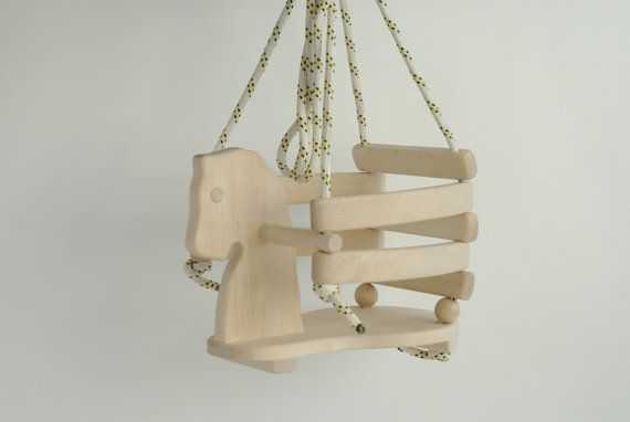 ITEM DETAILS Type: Wooden handmade horse swings. Seat size approx: 25x23cm (9.84x9.05inch) Height approx: 27cm (10.62inch) Color: natural wood and color by choice Condition: brand new For outside use it is recommended to seal it. Swing hanging accessories not included, set contains only swing with a rope. There are other colors. Contact for more information. Please note, that item will be shipped as registered priority mail, so you will get a tracking number. ♥ ♥ ♥ They are completely saf...