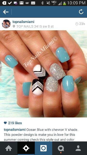 Turquoise silver chevron solar nails #solarpowder #compromised #notpolish