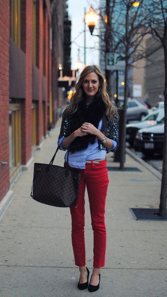 Sparkly cardigan + red pants.
