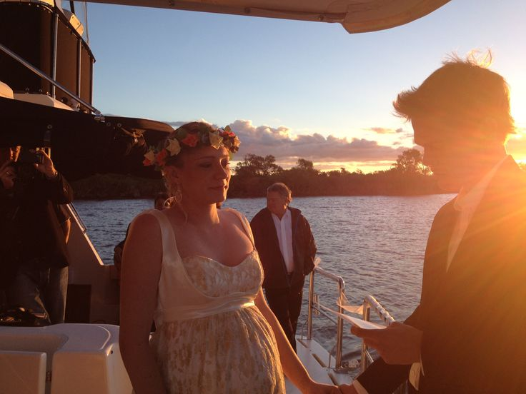 Sunset wedding aboard 'Grape escape' on the Gold Coast.