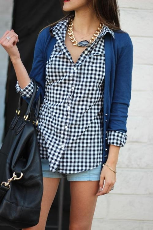 gingham / cardigan /  simple, elevated with a great bag and chunky necklace!