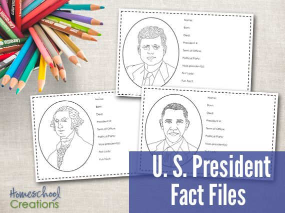 President Fact Files - Free Printable to record information about the US presidents over the years.