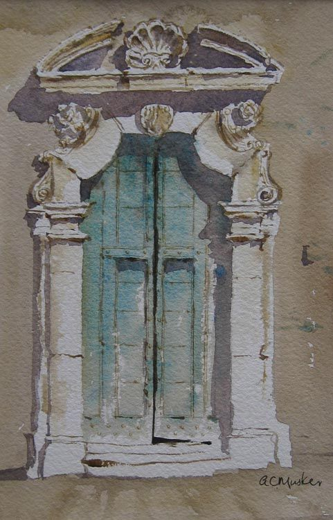 An Old Doorway, Italy II  Watercolour : 21 x 14 cm Signed