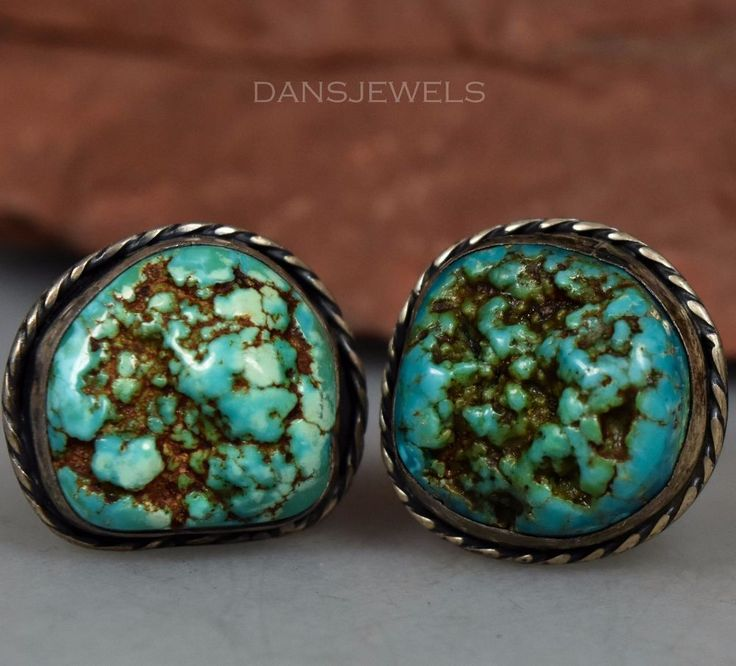 Vintage Old Pawn NAVAJO Natural Nugget Turquoise Sterling Cufflinks