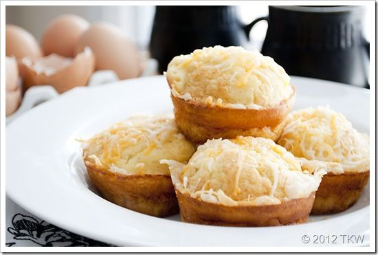 Impossible egg muffins.  Souffle like healthified egg, ham and cheese muffins.  Great to make ahead and freeze, for a quick grab and go breakfast.  Only 3 Weight Watcher's Plus Points.