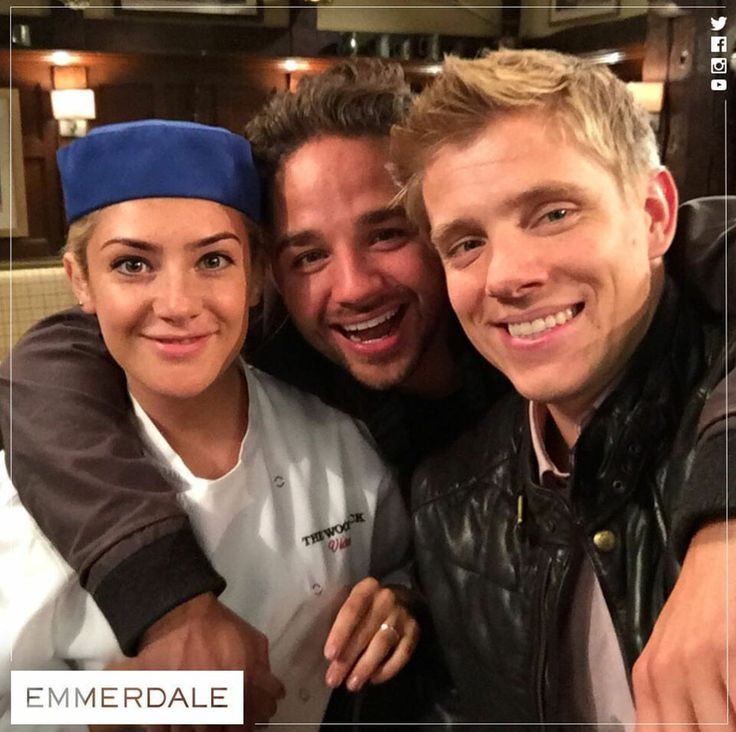 Only one is missing...guess who? Isabel Hodgins (Victoria Barton), Adam Thomas (Adam Barton) & Ryan Hawley (Robert Sugden) (Summer 2016)