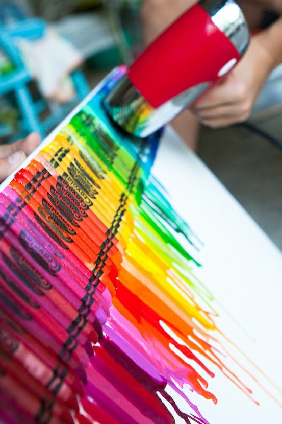 AWESOME ART IDEA!! Directions: Use your hot glue gun to glue( preferably, crayola) onto the top of a CANVAS only!! It will not work on paper!!! Then after the crayons are glued and dry take your blow dryer and slowly melt the crayons!! Caution: Be careful that you blow dryer is NOT on highest point!! Note: This will take around an hour. I wanna do this in the kids rooms