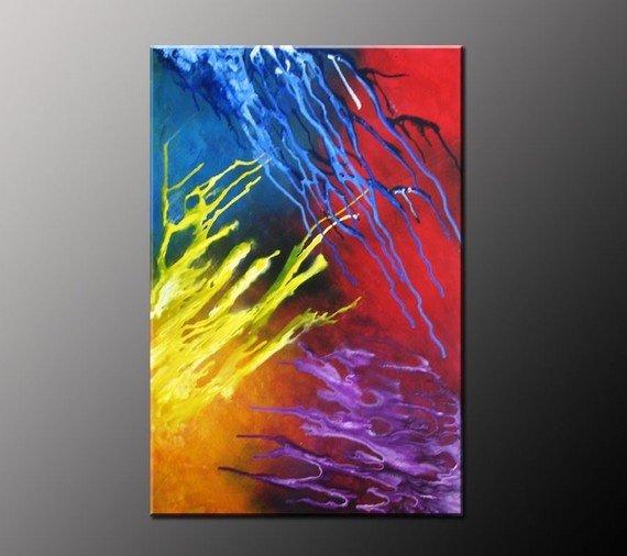 Blue Abstract Painting Red Abstract Art Yellow by VivianaFleing, $130.00: Art Decor, Abstractart, Abstract Art, Art Inspiration, Amazing Artwork, Artistic Loves, Abstract Paintings, Art Yellow
