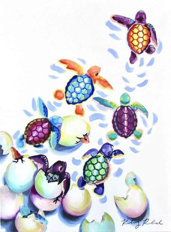 Sea Turtle Hatchlings (18×24) by Kelsey Rowland- original acrylic painting animal art colorful sea decor ocean turtles …