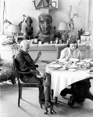 Picasso & his beloved dog Lump.
