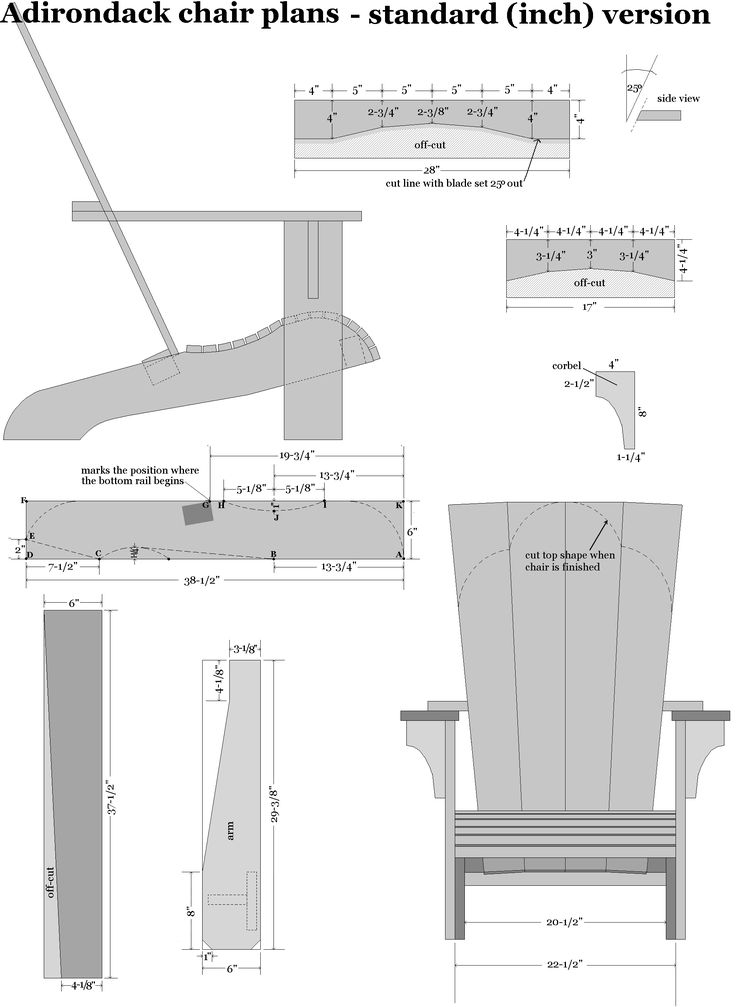 Adirondack chair plans in standard inch dimensions