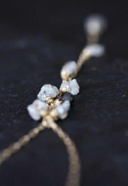 Rough Diamond and Black Diamond Cascade Necklace- 14kt gold- wedding- bridal jewelry- raw diamonds- natural diamonds- silver on Etsy, $235.00