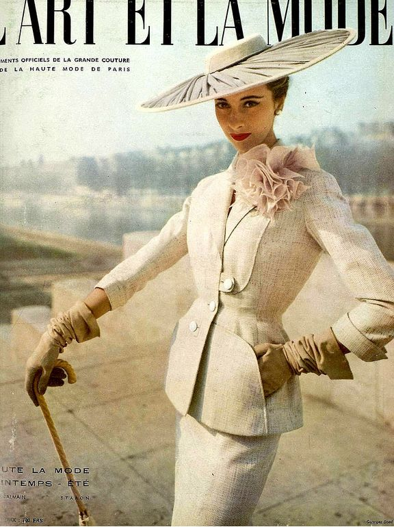 1953 Marie-Thérèse wearing a suit by Pierre Balmain, cover by Georges Saad