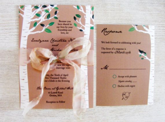 Forest Rustic Wedding Invitation Handmade by HandMadeowo on Etsy