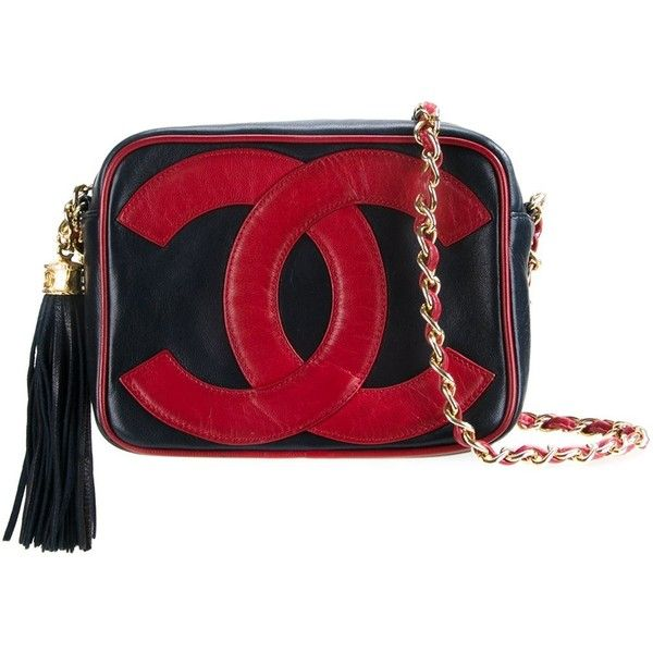 Chanel Vintage logo stamp shoulder bag found on Polyvore featuring bags, handbags, shoulder bags, chanel, blue, shoulder bag purse, chain shoulder bag, red handbags and chanel shoulder bag