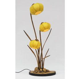 Yellow Table Mulberry Paper Lamp with Daffodil Flower Design