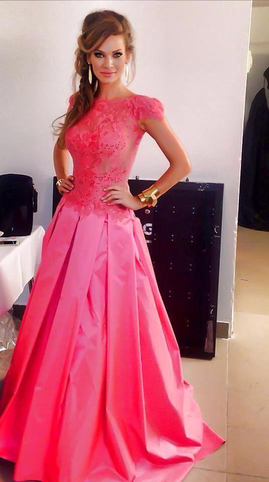 Dress: Jana Pistejova Slovak model Andrea Veresova #pink #dress #lace