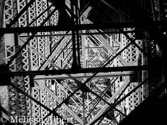 Black and White Image of the Underside of the Deception Pass Bridge