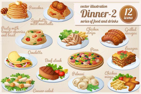 Dinner-2: Cartoon vector food icons by Ann-zabella on @creativemarket