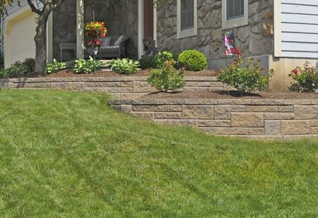landscaping for a sloping front yard | terraced landscape wall is perfect for any sloping front yard ...
