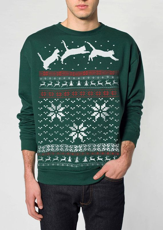 Ugly Christmas sweater  Cat jumping in snow  by skipnwhistle, $29.00, on etsy, if anyone wants to get me a Christmas sweater!