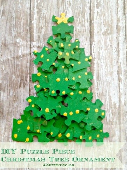 puzzle christmas tree craft ornament