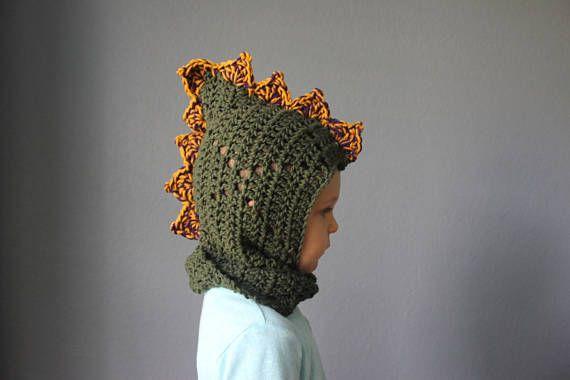 Dinosaurio con capucha de ganchillo sombrero de la chimenea
