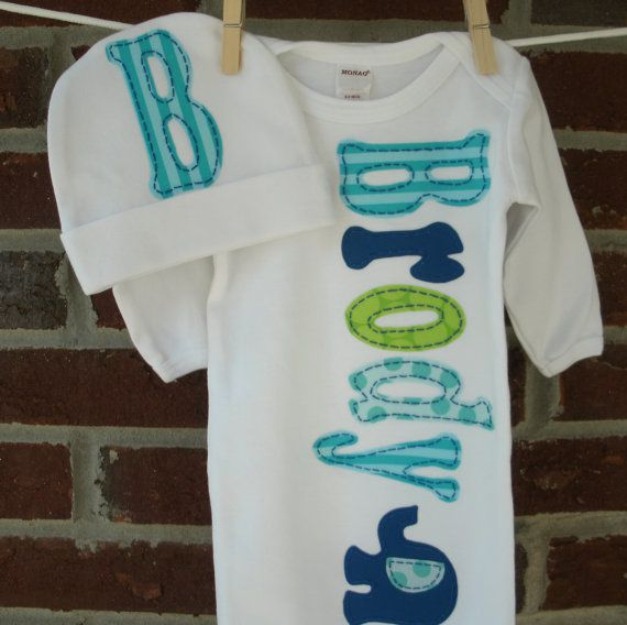 personalized newborn gown and cap set for baby boy, monogrammed coming home / take home outfit with hand applique elephant, baby shower gift...