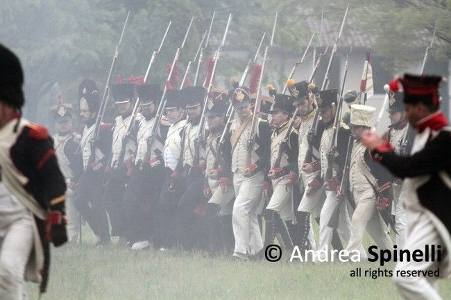 Reenactment of the Battle Napoleonic April 16, 1809 in Pordenone, Italy