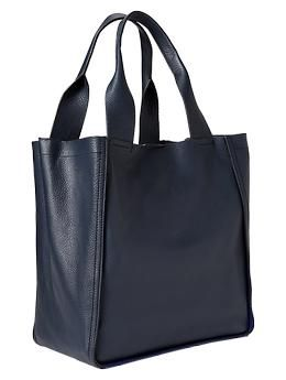 Large colorblock leather tote (in Tapestry Navy  $125 gap.com)