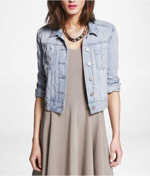 Express Womens Patch Pocket Faded Denim Jacket