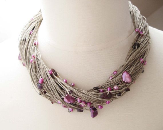 Purple Pearl Necklace, Multi Strand Necklace, Linen Necklace, Freshwater Pearls, Lavender on Etsy, $50.00
