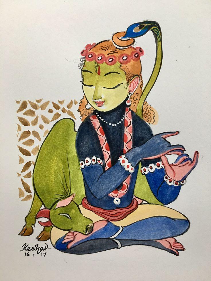 Aalap. #watercolor #krishnafortoday