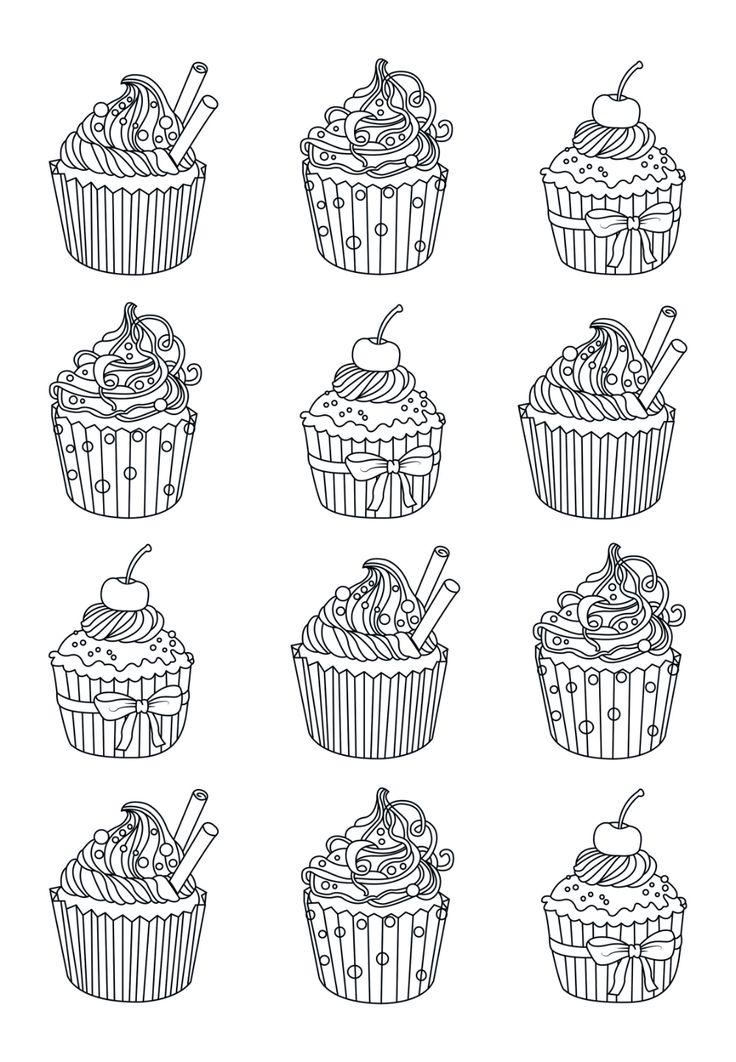 Cupcakes facile zentangle Celine Coloriages Cupcakes et