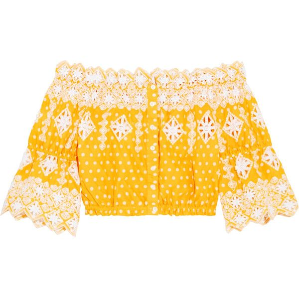 Miguelina Renee broderie anglaise-trimmed polka-dot cotton top ($410) ❤ liked on Polyvore featuring tops, yellow, embellished top, yellow off shoulder top, yellow off the shoulder top, beach tops and polka dot top
