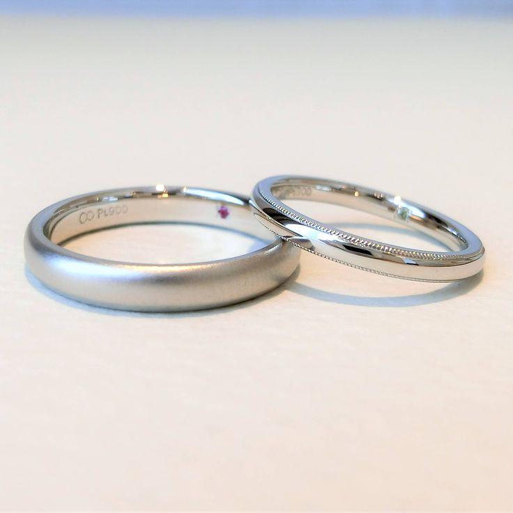 女性は光沢仕上げとミルグレイン加工で華やかに、男性はホーニング仕上げでしっとりとした上品な仕上がり  [marriage,wedding,ring,bridal,Pt900,プラチナ,マリッジリング,結婚指輪,オーダーメイド,ウエディング,ith,イズマリッジ]