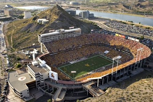 sun devil stadium! football games here are so fun and make me proud to be a sun devil.