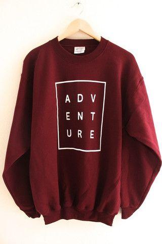 ADVENTURE Maroon Graphic Crewneck Sweatshirt – OliviaRoseInc