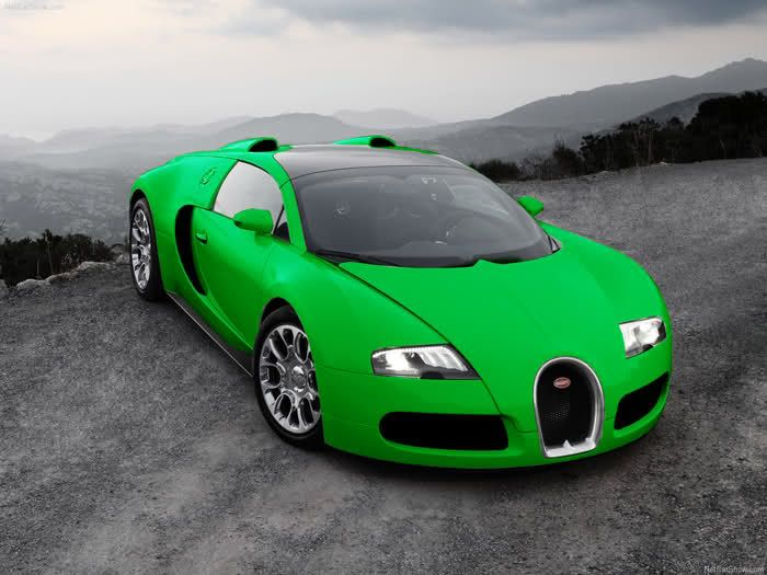 Bugatti Veyron Lime Green Background