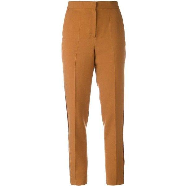 Roksanda 'Welles' trousers featuring polyvore, women's fashion, clothing, pants, roksanda, black, brown pants, brown trousers and beige pants