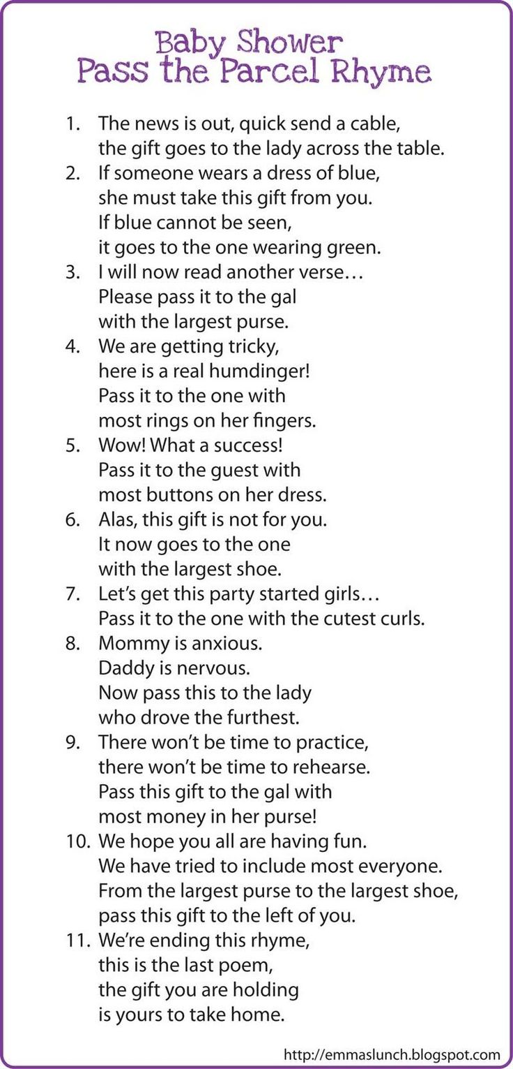 Interesting game?? Baby Shower Pass the Parcel Rhyme