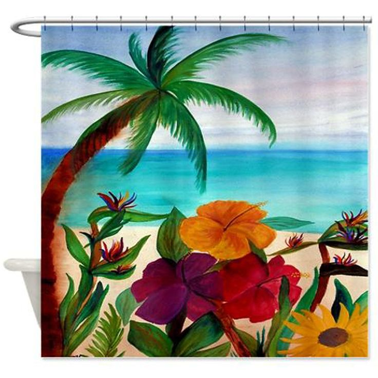 """Tropical floral beach coastal palm tree shower curtain from my art. Size 70"""" x 70"""" 100% softened polyester, Machine washable Standard size with 12 stitch-enforced eyelets for hanging,Custom sizes avai"""