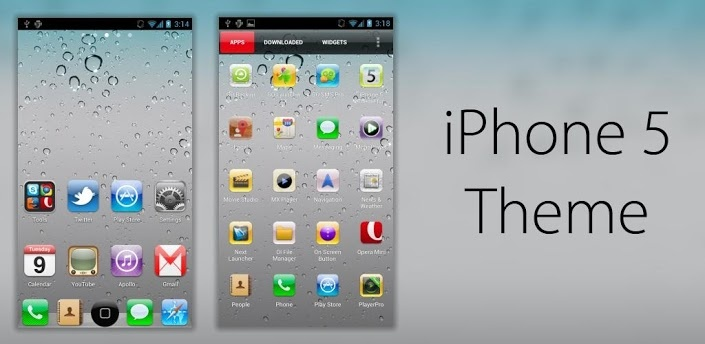 iPhone 5 Theme GO Apex Nova v1.1 apk  Requirements: 2.0 and up  Overview: Here's an awesome iPhone 5 Theme fully compatible with GO/Apex Launcher brought to you by Metrothemers! Please remember to rate our themes!