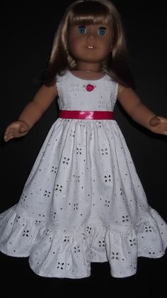American Girl doll clothes White Eyelet Gown by susiestitchit