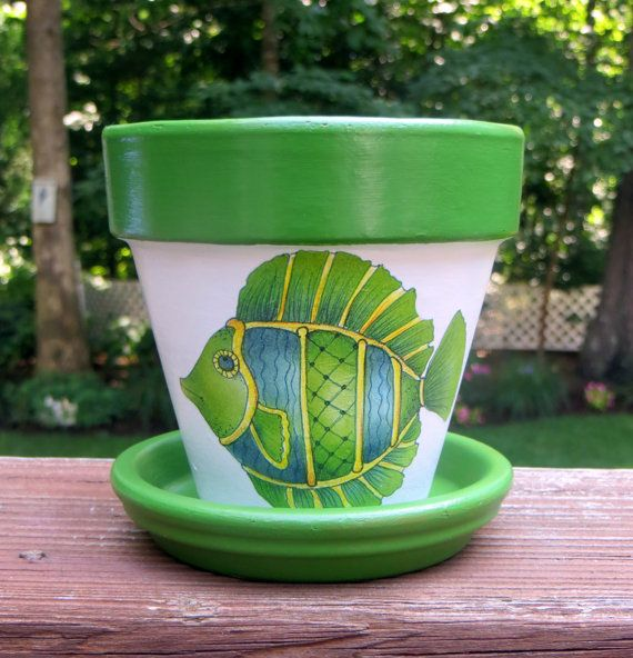 Painted Green Fish Terra Cotta Flower Pot by EllensClayCreations, $12.00
