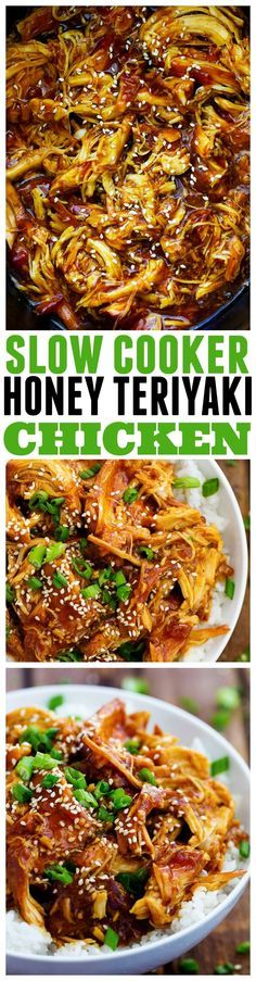 Slow Cooker Recipes | This slow cooker honey teriyaki chicken will be the BEST thing that you make!! The honey teriyaki sauce is out of this world!