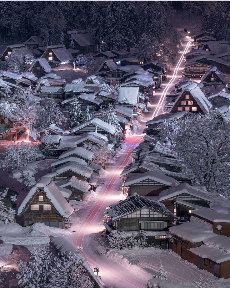 """114.6k Likes, 733 Comments -    Earthpix  (@earthpix) on Instagram: """"Winter light trails in Gifu, Japan  Photo by @gazellecity"""""""