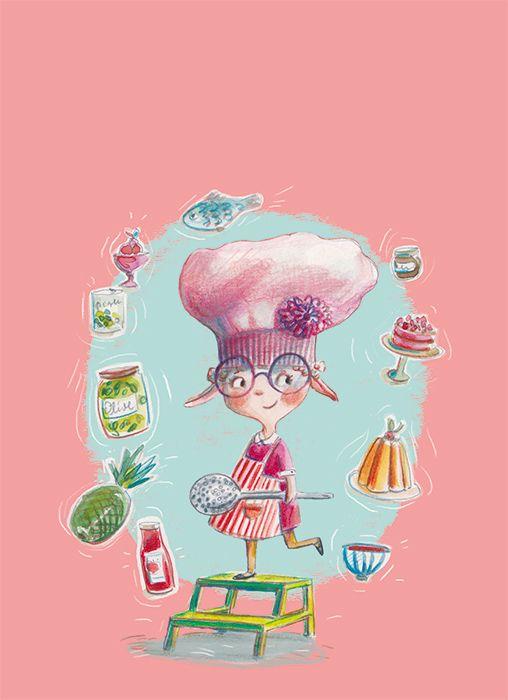 """Ania Simeone illustration form book """" Da grande voglio fare la chef"""", Emme Edizioni, 2017"""